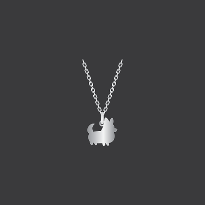 Corgi w/Tail Necklace / Sterlinig Silver