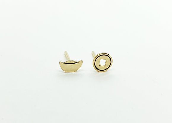 Coin & YuanBao Stud Earrings
