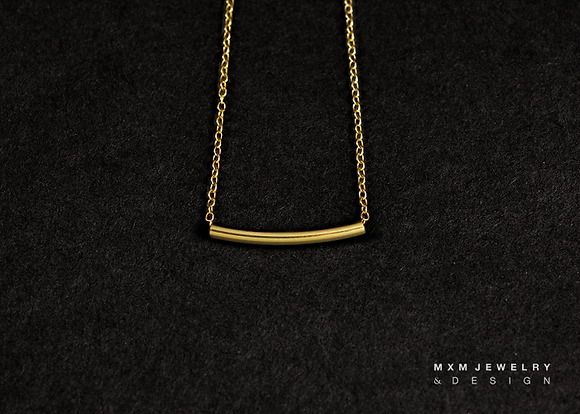 Yellow GoldFilled Curved Tube Bar Necklace