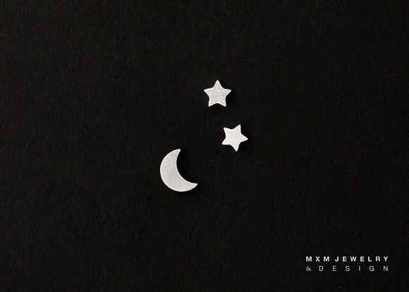 Moon & Mini Stars Stud Earrings