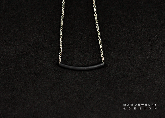 Oxidized Silver Curved Tube Bar Necklace