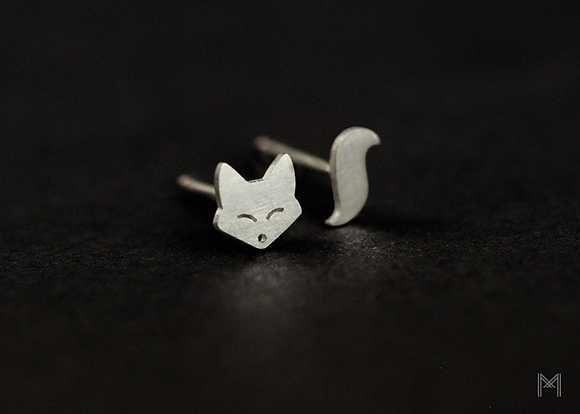 Fox & Tail Stud Earrings