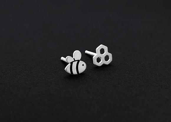 Bee & Honeycomb Stud Earrings