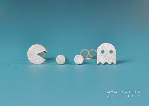 PacMan & Ghost Stud Earrings Set