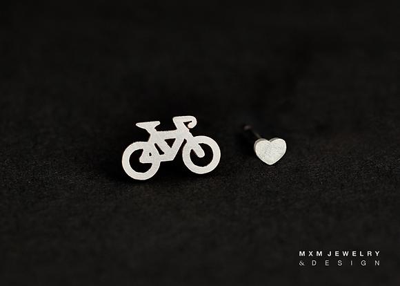 Bike & Heart Stud Earrings