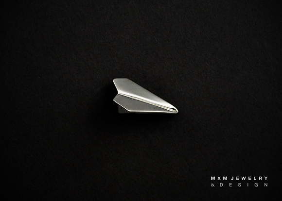 Handfolded Paper Airplane Lapel Pin