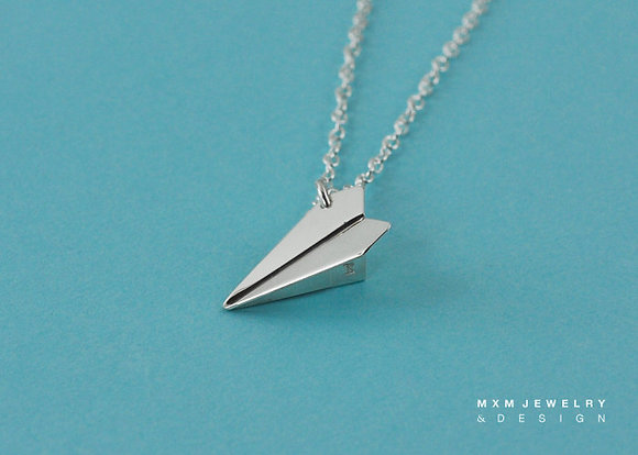 Medium / Handfolded Paper Airplane Necklace (Down)