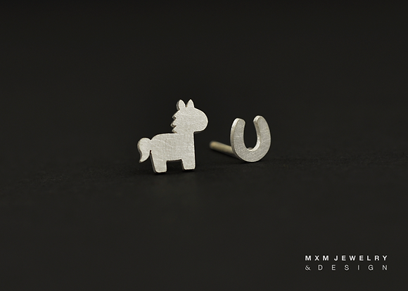 Horse & Mini Horseshoe Stud Earrings