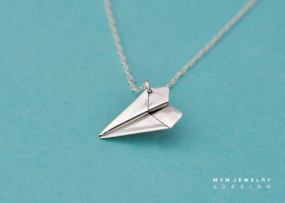 Large / Handfolded Paper Airplane Necklace