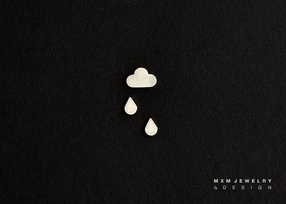 Cloud & Rain Drops Stud Earrings