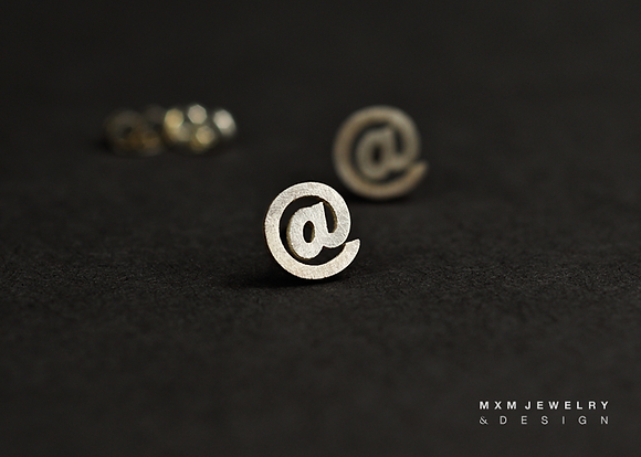 'At' @ Sign Stud Earrings