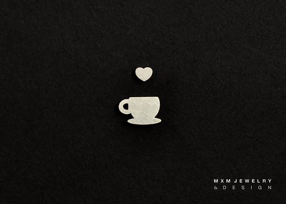 Heart Coffee/Tea Cup Stud Earrings