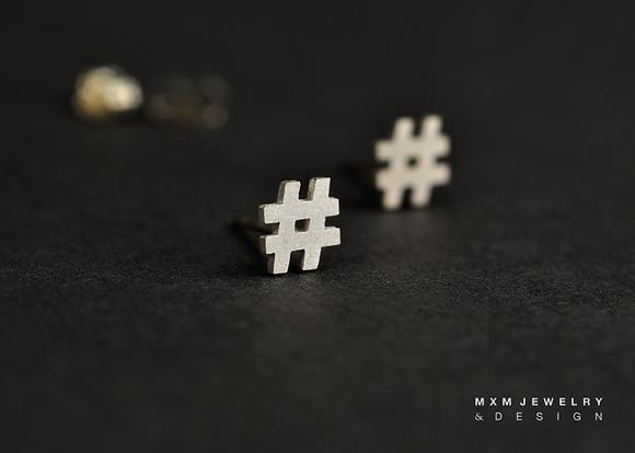 Hashtag / Number # Stud Earrings
