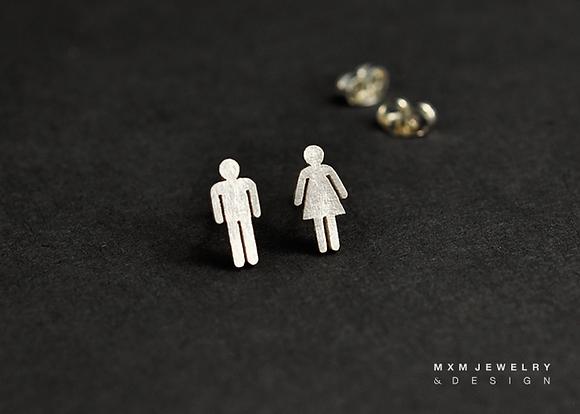 Female/Male Restroom Sign Stud Earrings