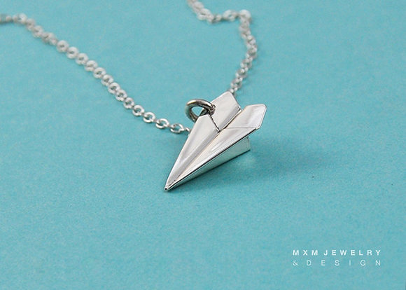 Medium / Handfolded Paper Airplane Necklace (UP)