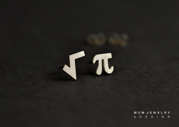 Square Root & Pi Stud Earrings