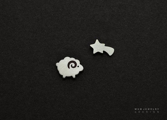 Sheep & Shooting Star Stud Earrings