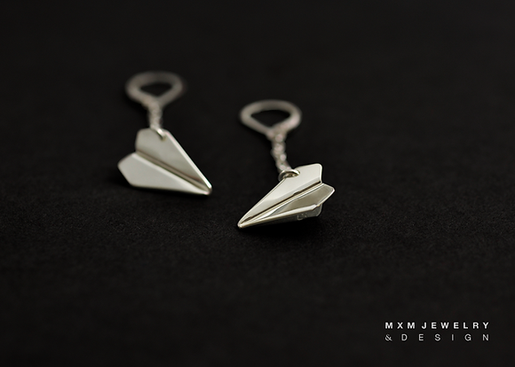 Handfolded Paper Airplane Earrings / Chain