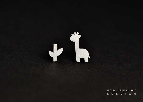 Giraffe & Little Branch Stud Earrings