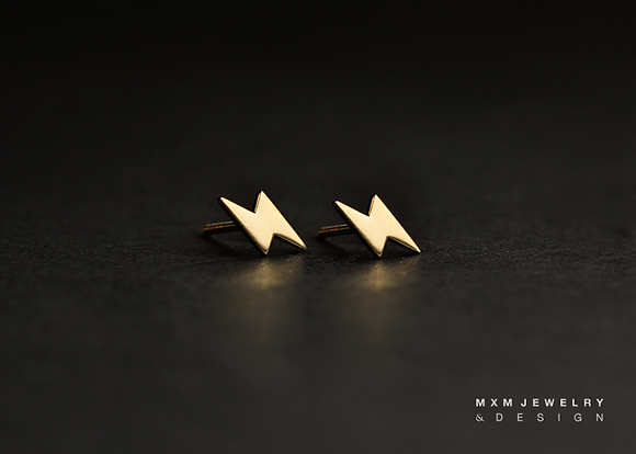 Gold / Lightning Bolt Stud Earrings