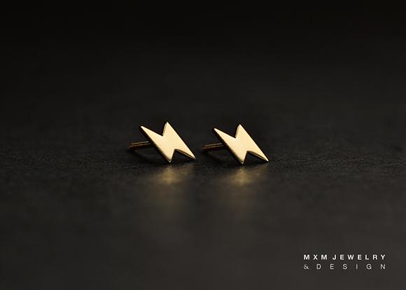 Gold / Lightning Bolt Stud Earrings