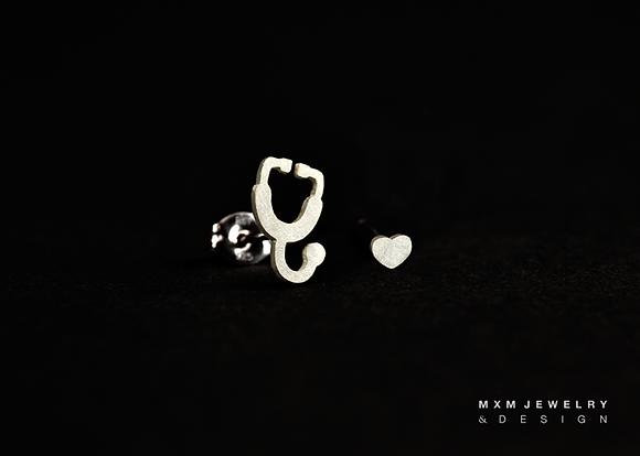 Stethoscope & Heart Stud Earrings