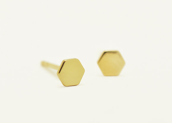 Gold / Hexagon Stud Earrings