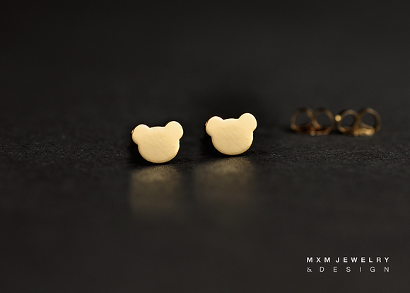 Gold / Little Bear Stud Earrings