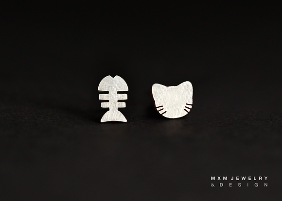 Cat Head & Fish Bone Stud Earrings