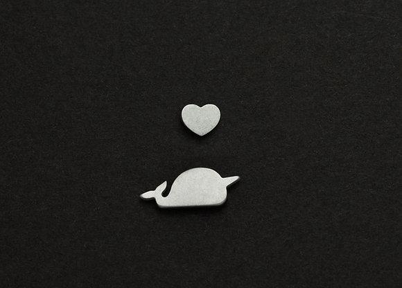 Narwhal & Mini Heart Stud Earrings