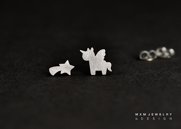 Unicorn & Shooting Star Stud Earrings