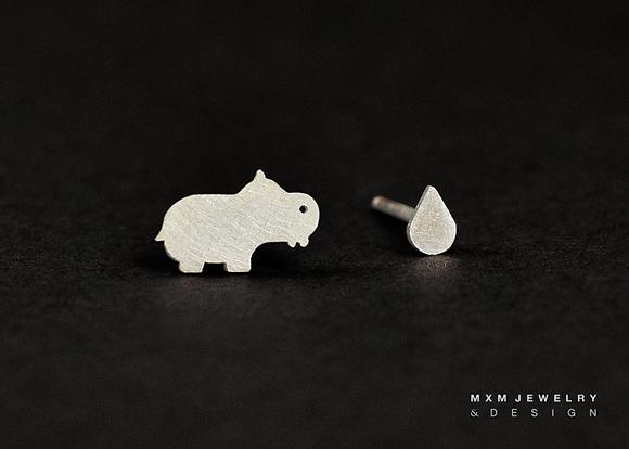 Hippo & Mini Water Drop Stud Earrings