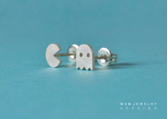 PacMan & Ghost Stud Earrings