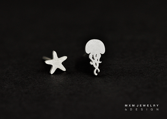 Jellyfish & Starfish Stud Earrings