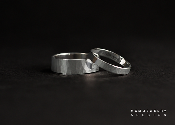 Handhammered Texture Ring Set
