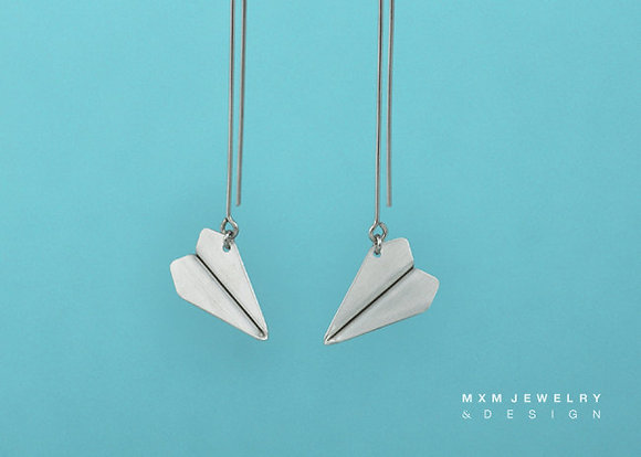 Handfolded Paper Airplane Earrings / Long Post