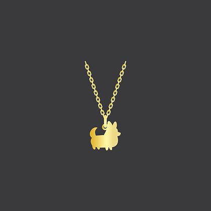 Corgi w/Tail Necklace / Yellow GoldFilled