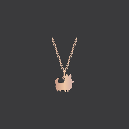 Corgi w/Tail Necklace / Rose GoldFilled