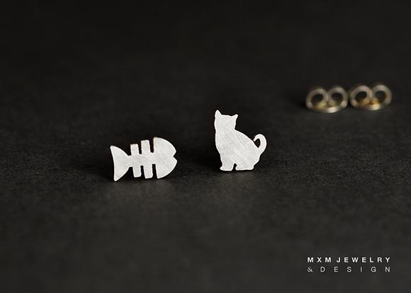 Cat & Fish Bone Stud Earrings