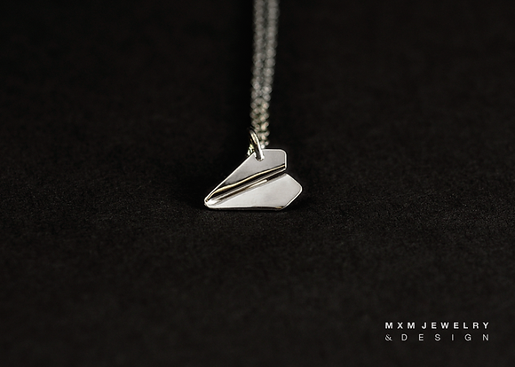 Mini / Handfolded Paper Airplane Necklace