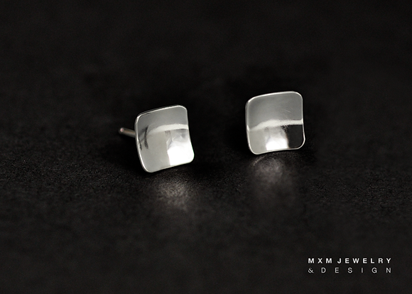 Square Bowl Stud Earrings