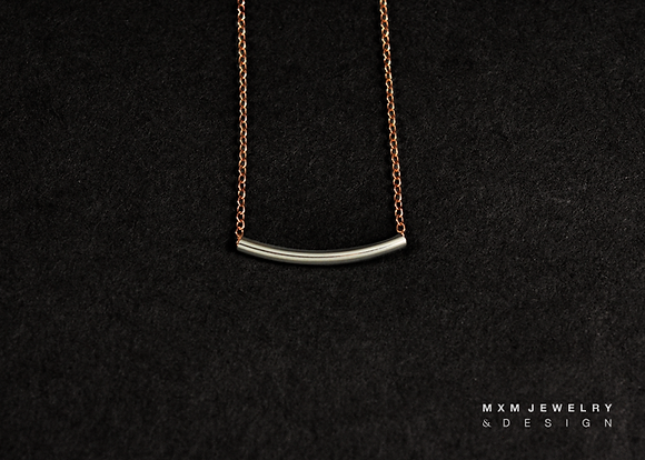 Silver Curved Tube Bar Necklace