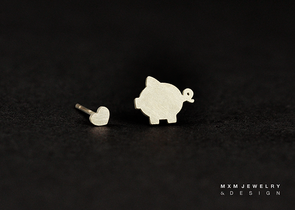 Pig & Mini Heart Stud Earrings