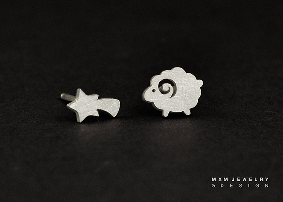 Sheep & Shooting Star Stud Earrings
