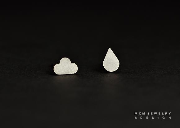 Cloud & Rain Drop Stud Earrings