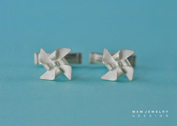 Handfolded Pinwheel Cufflink