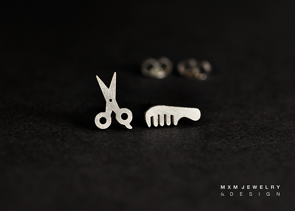 Scissor & Comb Stud Earrings