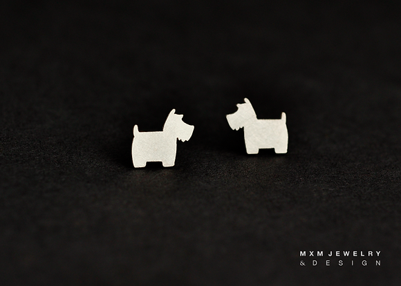 Scottie & Bone Stud Earrings