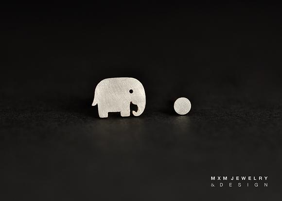 Elephant & Ball Stud Earrings