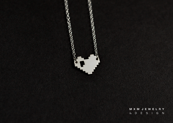 Pixelated Heart Necklace